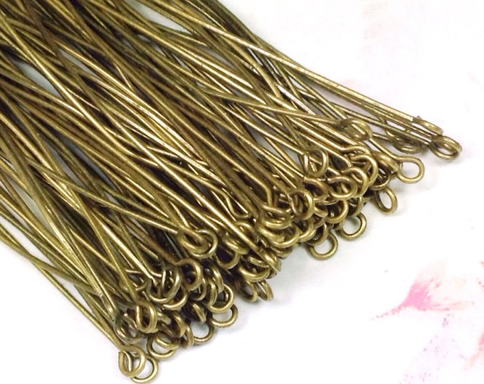 Brass Eyepins, Antique Bronze, 70 mm, 2 3/4 in, 0.7mm thick, 21 gauge, 2mm Loop, Lot Size 90 (Approx), #2410