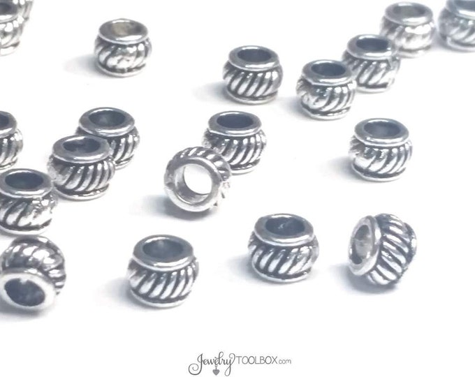 Detailed Rondelle Beads, Antique Silver Pewter Extra Large Hole Beads, Metal Beads, 4x6mm, 3mm Hole, Lot Size 50, #1359 BH