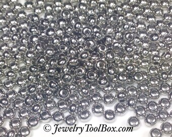 Metal Seed Beads, 8/0, Size 8, NICKEL Plated, 2x3mm, Brass Spacers, Made in the USA, Lead Free, Lot Size 39 grams, #1429