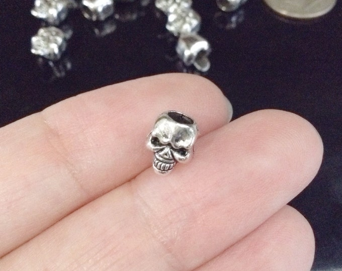 Tiny Skull Beads, Large Hole, 7X6mm, 4mm Hole, Antique Silver Pewter, Lead Free, Lot Size 25 to 50, #1141 BH
