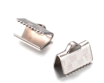 Ribbon End Clamps, Stainless Steel Crimp Fasterners, 10mm (3/8 inch approx), Terminator Finding, Finishing Leather Jewelry Supplies, #1635