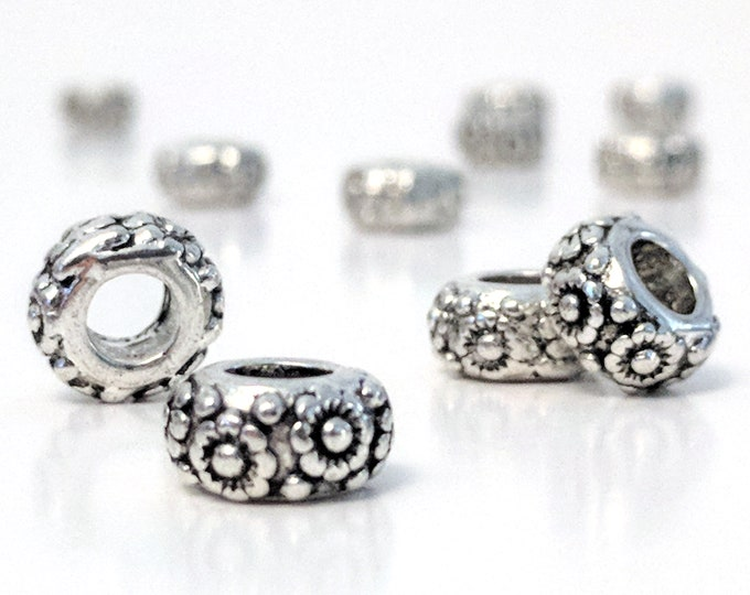Flower Rondelle Beads, Antique Silver Pewter Spacers, 11x6mm, 5mm hole, Lead Free, Lot Size 6 to 25,  #1266 BH