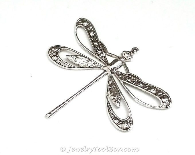 Filigree Dragonfly Pendant, Extra Large 42x50mm, 1 Loop, Sterling Silver Plated, Lead & Nickel Free, Lot Size 4 to 10, #11S