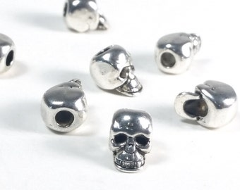 Big Hole Skull Beads, Metal Large Hole Beads, Antique Silver Pewter, 10x8mm, 3mm Hole, Lead Free, Lot Size 8 to 30, #1365 BH