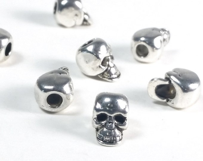 Big Hole Skull Beads, Metal Large Hole Beads, Antique Silver Pewter, 10x8mm, 3mm Hole, Lead Free, Lot Size 15 to 30, #1365 BH