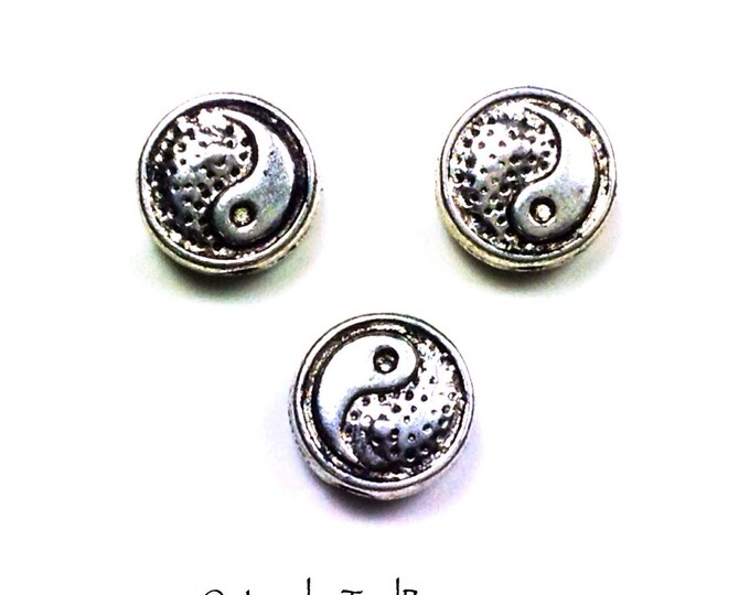 Yin Yang Beads, Pewter, 8mm, Antique Silver Finish, 1.5mm Hole, Lead Free, Lot Size 40 Beads, #1209
