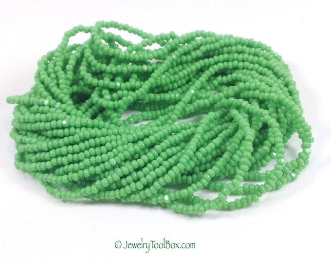 True Cut Seed Beads, Medium Green Charlottes, Opaque, Size 13, Full Hank, 12 Strands, Vintage