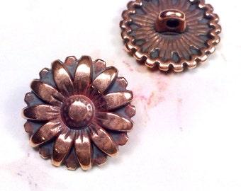 Copper Buttons, Metal Buttons, Brass Sunflower Buttons, 17mm Round, 2mm Shank Button, Lead Free, Lot Size 5 Buttons, #1173