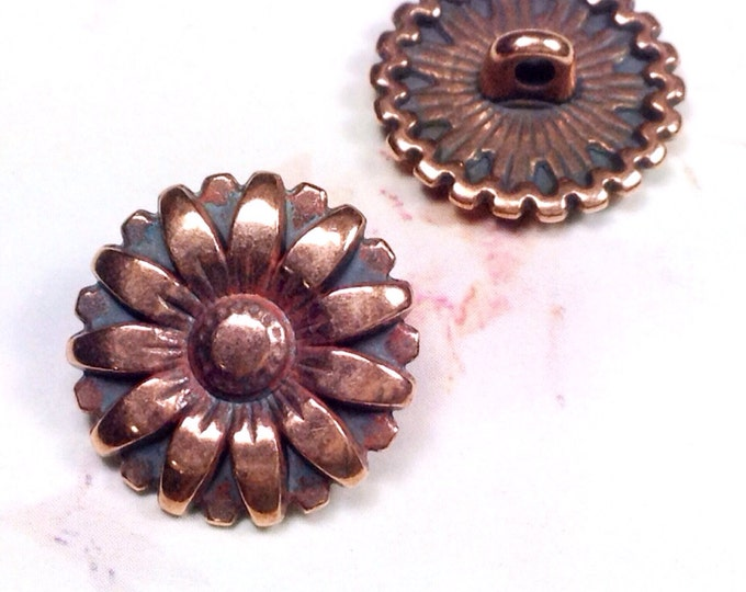 Copper Buttons, Metal Buttons, Brass Sunflower Buttons, 17mm Round, 2mm Shank Button, Lead Free, Lot Size 10 Buttons, #1173
