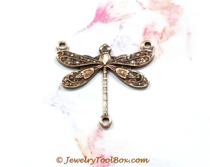 Antique Copper Dragonfly Brass Connector Pendants, 17x17mm, 3 Loops, Small, Lead & Nickel Free, Lot Size 6 to 20, #03C