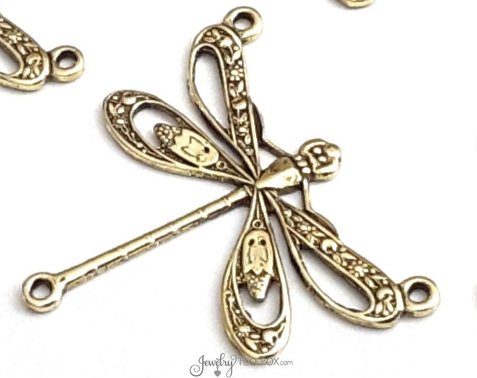 Large Gold FILIGREE Dragonfly Pendants, Dragonfly Charms, Jewelry Connectors, Pendants, 3 LOOPS, 22x25mm, Lot Size 6 to 20, #10G