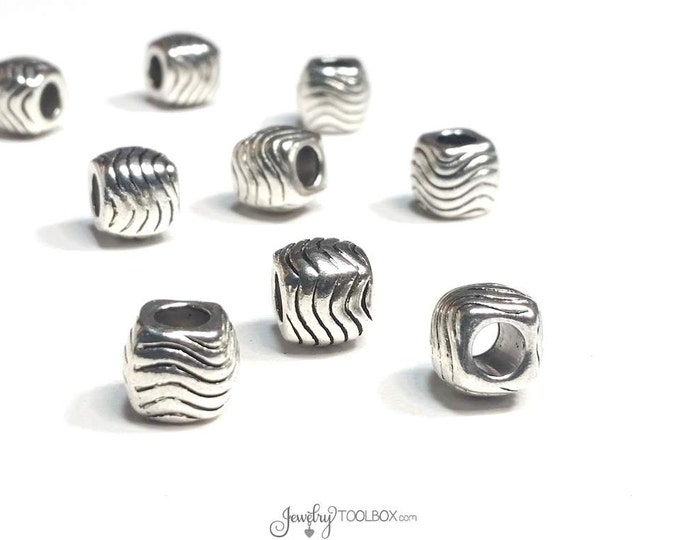 Chunky Cube Beads, Antique Silver Pewter, Carved Wave Design,  9x10mm, 5mm Extra Large Hole, Lot Size 8 to 20 Beads, #1348 BH