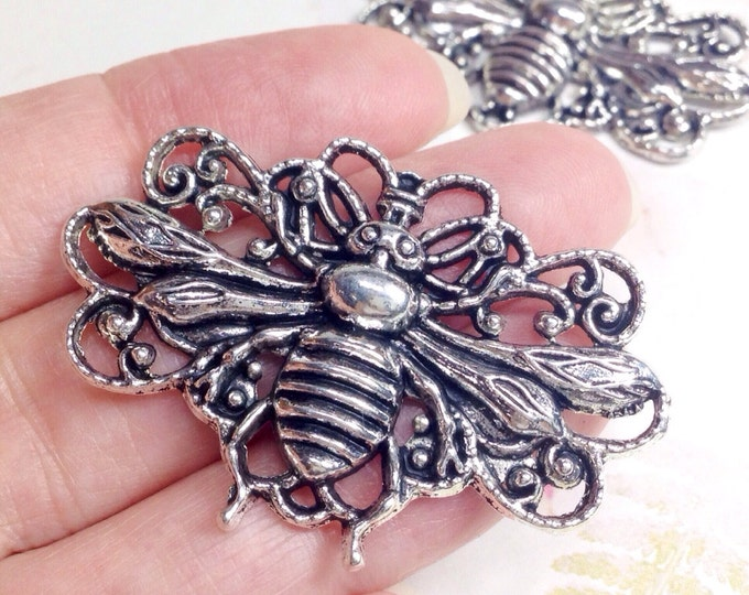 Filigree Bee, Silver Pewter Jewelry Finding, Antiqued, Large, Lead Free, 29x45mm, Lot Size 1 to 10, #1171