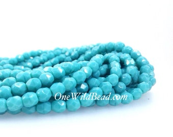 Czech Beads, Faceted Glass, Persian Turquoise, 4mm Fire Polish Round, 50 Piece Strand, #07 1001