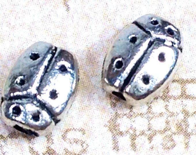 Ladybug Beads, 50 Pieces, Antique Silver Pewter, 8x6mm, 1mm Hole, Lead Free, #1159