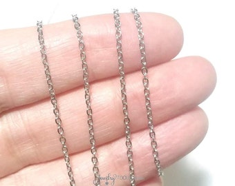 Stainless Steel Chain, Bulk Chain, Jewelry Making Chain, Fine Chain, Oval Links, Hypoallergenic, 2x1.5mm Links, Lot Size 4 to 20 feet, #1902