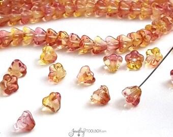 Fuchsia Lemon Bell Flower Beads, Dual Coated Yellow / Pink Czech Glass Baby BellFlower Bead Cap,Czech Glass Beads, 4x6mm, Lot Size 50, #4016