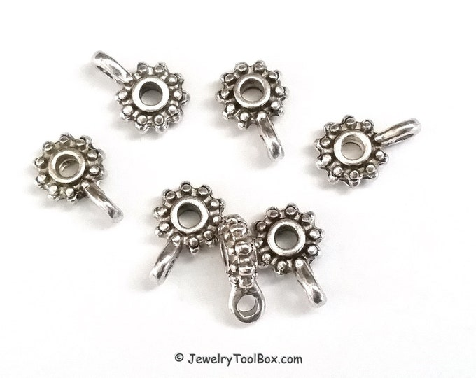 Rondelle Pendant Bails, Hanger Beads, Antique Silver Links, Lead Free, Nickel Free, 12.5x9mm, 3mm Hole, 2mm Loop, Lot Size 20 to 50, #2181