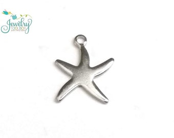 Starfish Charms, Stainless Steel, Tiny Drop, 13.5x10x1mm, Hypoallergenic, Non Tarnish, Lot Size 4 to 50, #1609