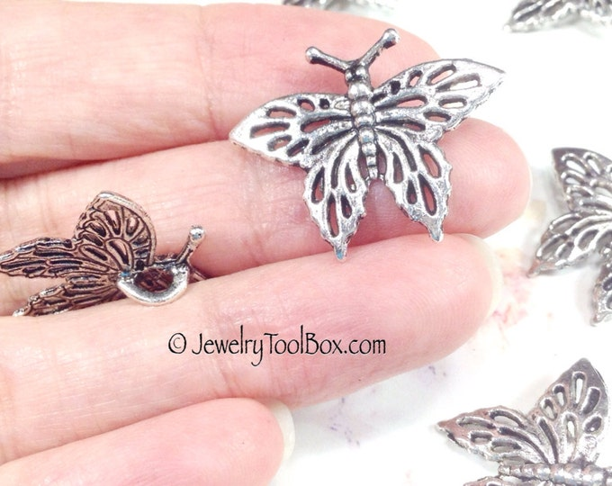 Butterfly Pendant Charms, 10 pieces Pewter, Antique Silver Tone, Lead Free, 21x27mm, #1053 BY