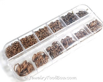 Brass Jump Ring Kit, Antique COPPER, Nickel Free, Assorted Sizes, Flip Top Box, 4mm to 10mm diameter, 0.7 to 1mm thick