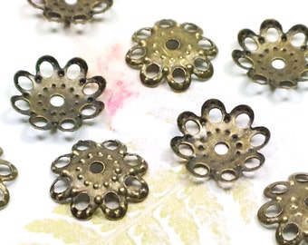 Filigree Bead Caps, Antique Bronze Color, Moldable, Iron, Vintage Look, 10x2mm, 1mm Hole, Lot Size 50 to 250, #2053 AB