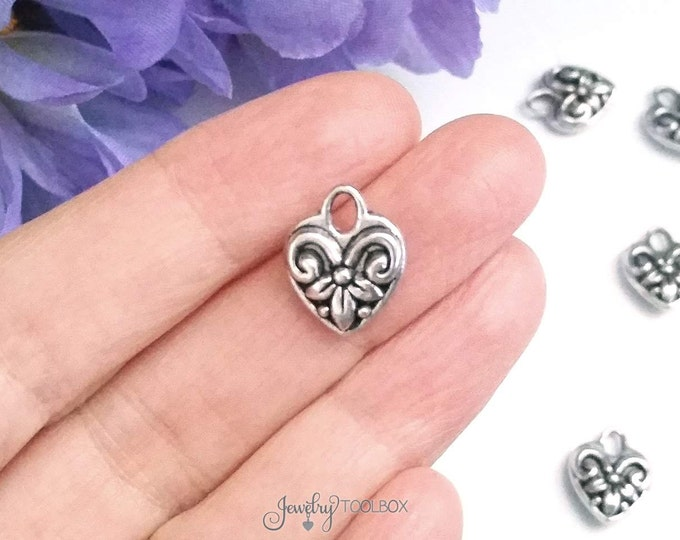 Silver Heart Charms, Antique Silver Hearts, Double Sided Heart, Lead Free, Nickel Free Findings, 15x12x5mm, 3x4mm Loop, 6 to 25, #2086