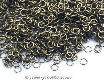 4mm Bronze Jump Rings, Bulk Jewelry Making Supplies,  Antique Bronze Jump Rings, Brass Jump Rings, 4x0.8mm, 21 gauge, Lot Size 100 to 500