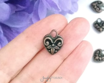 Copper Heart Charms, Antique Copper Hearts, Double Sided, Lead Free Charms, Nickel Free Findings, 15x12x5mm, 3x4mm Loop, 4 to 20, #0949