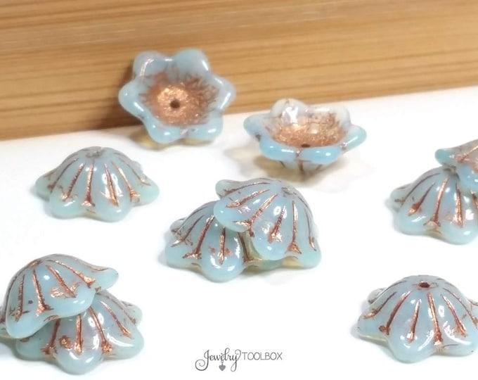 Blue Turquoise Czech Glass Bell Flower Bead, Light Turquoise Blue with Copper Wash, Bell Flower Bead Cap, 14x11mm, Lot Size 10 Beads, #6350