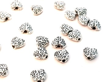 Tiny Heart Beads, Antique Silver Pewter Metal Spacer Beads, Double Sided, 6mm, 1mm Hole, Lot Size 20 to 50 Beads, #1374