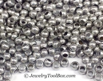 Metal Seed Beads, 15/0, Size 15, ZINC Plated, 1x1.5mm, Brass Spacers, Made in the USA, Lead Free, Lot Size 15 grams, #1466