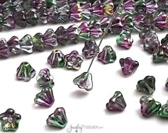 Peacock Baby Bell Beads, Coated Marea Peacock Gold Czech Glass Baby Bell Flower Bead Cap, Czech Glass Beads, 4x6mm, Lot Size 50 Beads, #4014