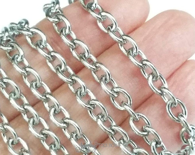 Oval Link Chain, Stainless Steel Jewelry Chain, Bulk Chain, Non Tarnish, Hypoallergenic, 6x4.5mm, 16 Gauge, Lot Size 4 to 20 Feet #1934
