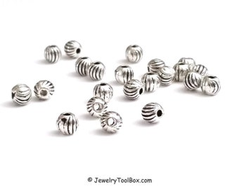 Round Beads, 4mm Round Corrugated Antique Silver Pewter Spacer Beads, 1mm Hole, Lead Free,  Lot Size 100, #1080 RD
