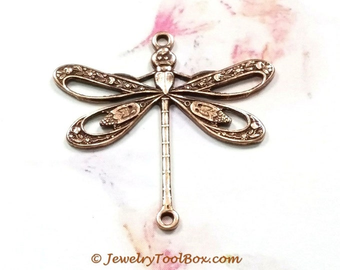 Antique Copper Filigree Dragonfly Pendant Charm Connector, USA Made Brass Stamping, 24x24mm, 2 Loops, Large, Lot Size 6 to 20, #09C