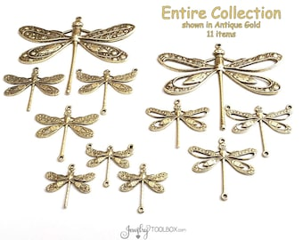 Dragonfly Charms Collection, Brass Dragonfly Pendants Assortment, Jewelry Connectors, Filigree Pendants, Jewelry Making Supplies, 11 Charms