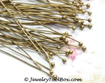 Antique Bronze Ball Pins, 50mm, 2 inch, 0.5mm thick, 24 Gauge, Brass, Jewelry Making Supplies, Lot Size 50 or 100 (Approximately), #2400 AB