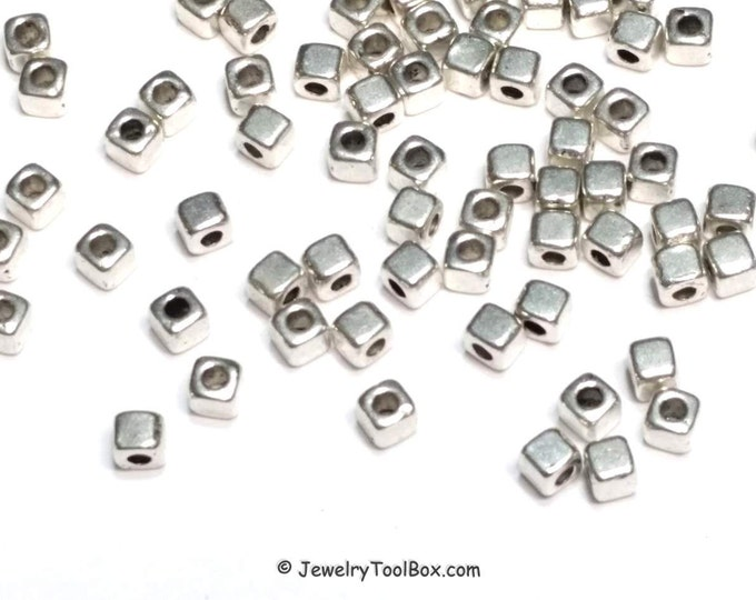 Silver Spacer Beads, Pewter Beads, Cube Beads, Small Spacers, 3x3mm, 1.5mm hole, Antique Silver Finish, Lead Free, Lot Size by 100s,  #1294