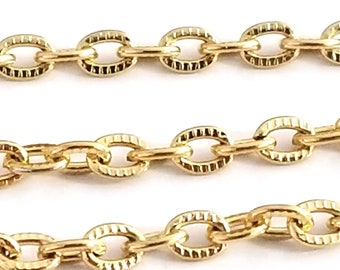 Gold Textured Stainless Steel Chain, Textured, 3x4mm Oval Link Chain,  Bulk Chain, Hypoallergenic, Non Tarnish, 4 to 20 feet, #1031 CG