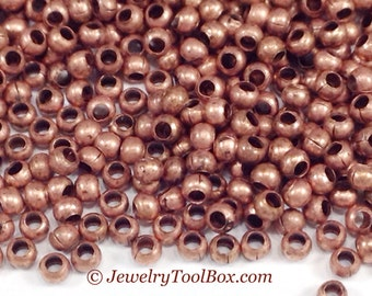 15/0 Seed Beads, Metal, Size 15, ANTIQUE COPPER Plated, 1x1.5mm, Brass Spacers, Made in the USA, Lead Free, Lot Size 5 to 15 grams, #1472