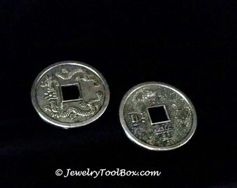 Dragon Coins, Pendants, Buttons, Antique Silver Pewter, 32x1mm, Lead Free, Cadmium Free, Lot Size 4 to 15, #1220