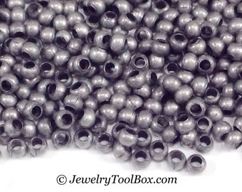 15/0 MATTE ZINC Plated Brass, 15 Grams, Size 15 Seed Beads, 1x1.5mm, Spacer Beads, Large Hole, Made in USA, #1459