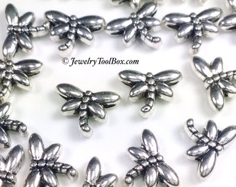 Tiny Dragonfly Beads, Metal, 8x6mm, Antique Silver Finish, 3 Dimensional, Lead Free, Nickel Free, Lot Size 100, #2005