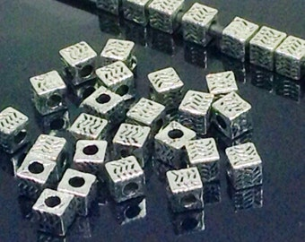 Cube Beads, Silver Pewter Spacers, 5x5mm, Antique Silver Finish, 2mm Hole, Lead Free, Lot Size 12 to 50, #1186 BH