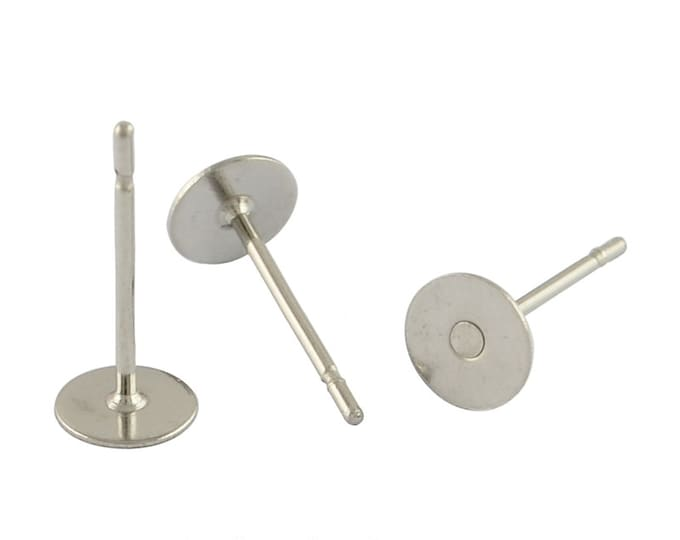 Stainless Ear Stud Finding, 12x5mm, 0.6mm Pin, 304 Grade Stainless Steel, Lot Size 14 to 100 Pieces, #1342