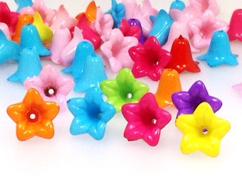 Lucite Flower Beads, Opaque Acrylic Floral 18x12mm, Assorted Color Mix, Bead Caps, 1.5mm hole, Lot Size 50 to 100, #1176