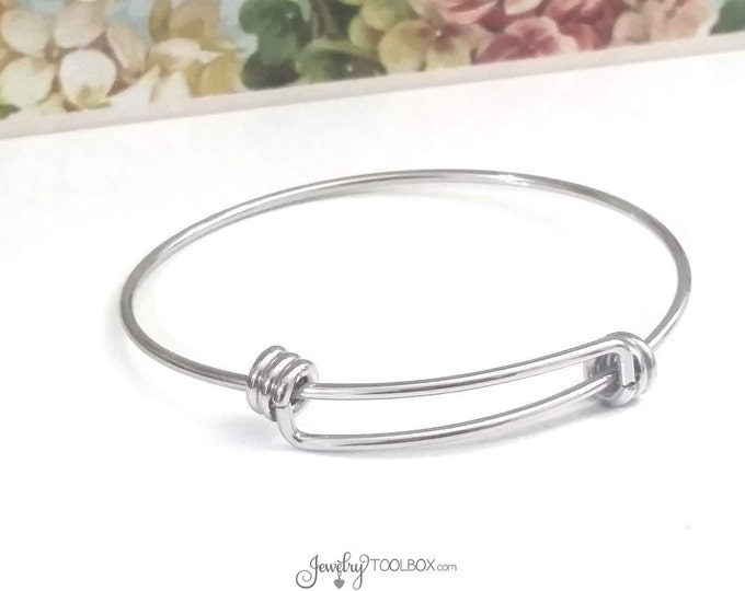 Adjustable Bangle Bracelet, 2mm THICK Expandable Bracelets, Bulk Stainless Steel Jewelry Making Supplies, 60mm wide, Lot Size 1 to 50