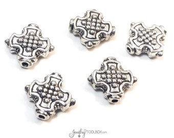 Cross Beads, Antique Silver Crosses, Bulk Metal Bead Findings, Decorative Beads, Pewter Beads, 12mm, 1mm Hole, Lot Size 15 to 30, #1335