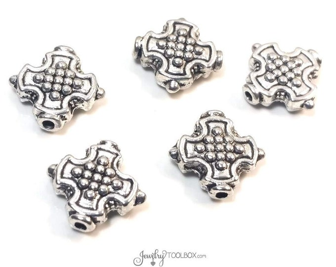 Cross Beads, 30 Pieces, Antique Silver Crosses, Bulk Metal Bead Findings, Decorative Beads, Pewter Beads, 12mm, 1mm Hole, #1335